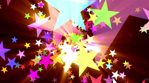 Multicolored Disco Stars Warm Rays VJ Motion Background Loop Rotate Right Animation