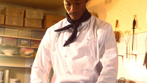 Chef wearing his hat Stock Video Footage