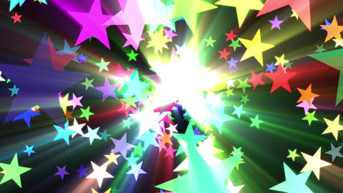 Multicolored Disco Stars Colorful Rays VJ Motion Background Loop Animation