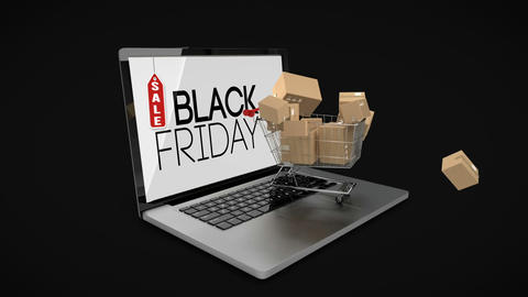 Black Friday logo on laptop with shopping trolley Live Action