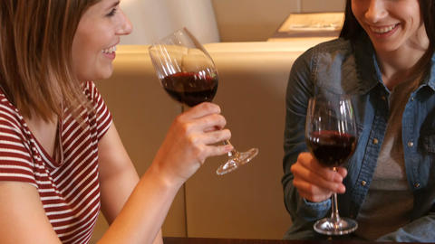 Beautiful woman interacting while having a glass of wine Footage