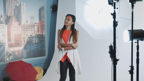 Photo shoot of stylish black model in modern professional studio photo shoot Live Action