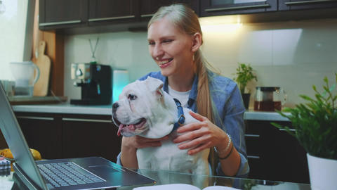 Cheerful young woman with bulldog puppy sitting in front of laptop in the Live Action
