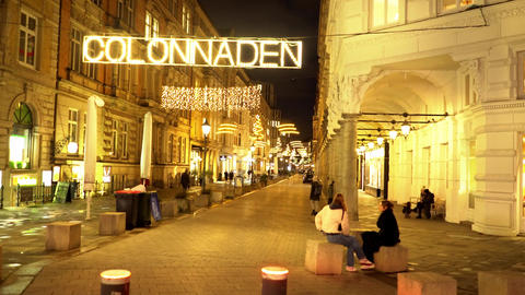 Colonnades in Hamburg by night - a famous street in the city center Live Action