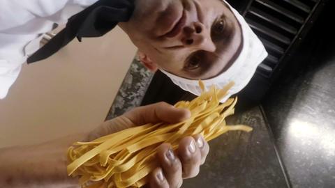 Male chef preparing food Footage