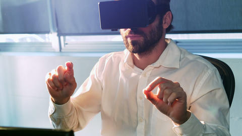 Male business executive using virtual glasses Footage