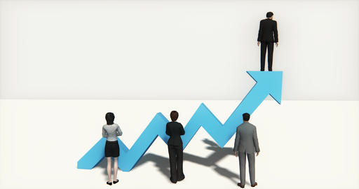 4k business team standing on the top of 3d blue positive trend arrow Live Action