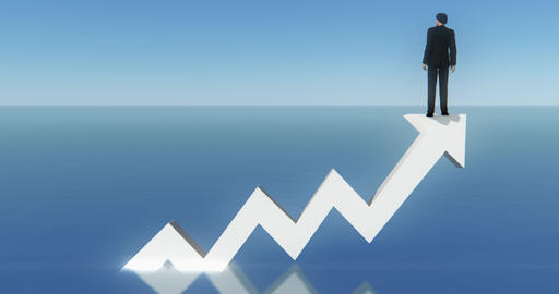 4k businessman standing on the top of 3d positive trend arrow,facing the sea Live Action