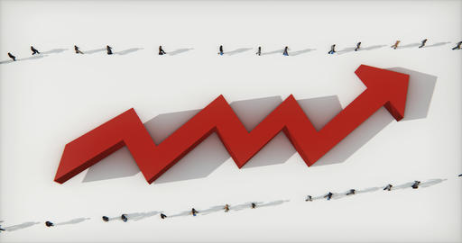 4k business people walking on the 3d red positive trend arrow Live Action