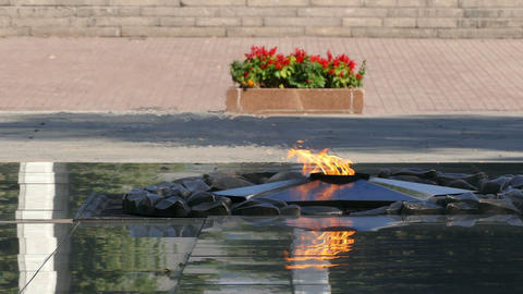 Eternal Flame Almaty Central Park 4K Footage