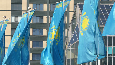 Kazakhstani Flags Background Building 4K Footage