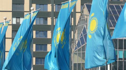Kazakhstani Flags Background Building 4K Footage