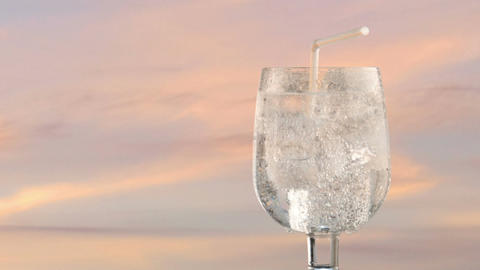 sparkling mineral water in turning glass Footage