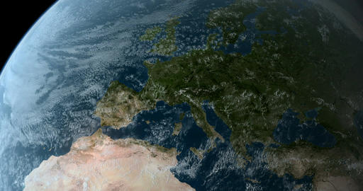 Orbiting over Europe 4K Animation