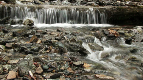 Small Waterfall On Mountain River Footage