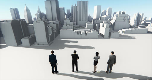 4k Business people overlooking the abstract urban building,Business empire Footage