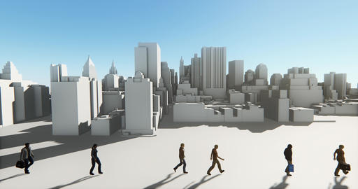 4k Business people walking on the front of abstract urban building,Business empi Footage