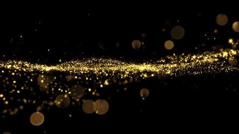 Beautiful Luxury Golden Particles Moving Seamless with Bokeh Blur. Looped 3d Ani Animation