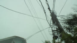 Hurricane conditions - wires sway in wind Footage