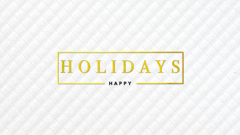 Animation intro text Happy Holidays on white fashion and minimalism background with geometric shapes Animation