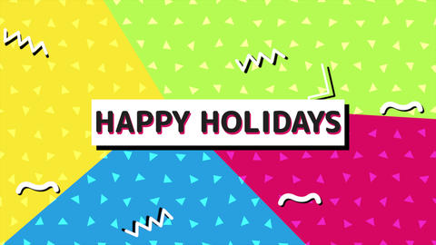 Animation text Happy Holidays and motion abstract geometric shapes, Memphis background Animation