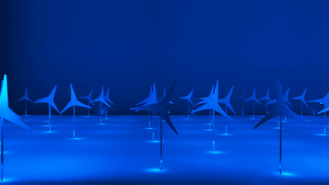 Broadcast Passing Hi-Tech Windmills Stage, Blue, Events, 3D, 4K Animation