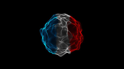 3D modern abstract three color in wireframe mesh sphere surface waving on isolated black background Animation