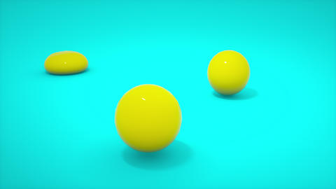 Soft body yellow ball falling to blue floor background Animation