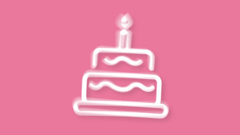 Birthday cake icon in wiggle movement on pink background Animation
