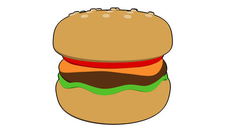 burger toon Stock Video Footage
