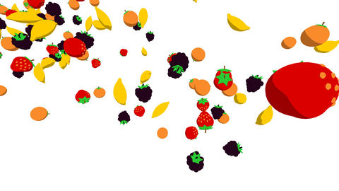 fruits flying2 Animation