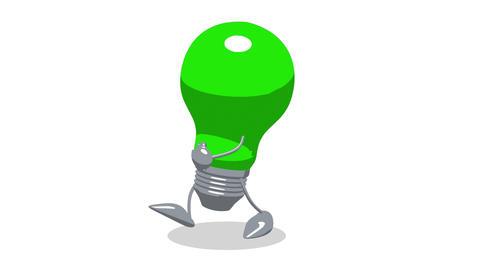 lightbulb toon walk2 Stock Video Footage