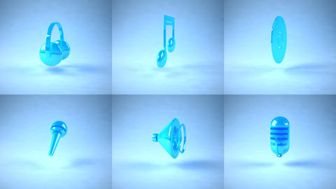 music icons Stock Video Footage