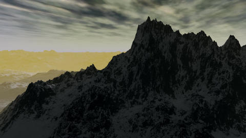 (1101) Snow Mountains Wilderness Glaciers Sunset H Stock Video Footage