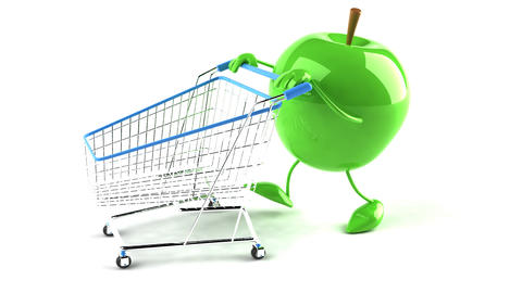 shopping cart apple 2 Stock Video Footage