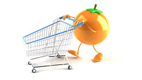 shopping cart orange 2 Stock Video Footage