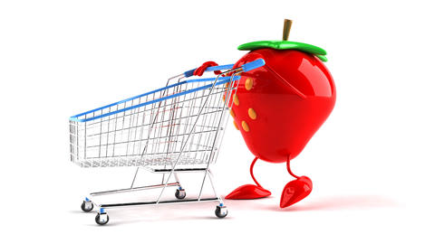 shopping cart strawberry 2 Stock Video Footage