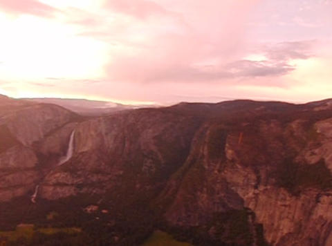 Glacier Point Panorama Sunset Pan 1 Footage