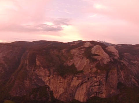 Glacier Point Panorama Sunset Pan 1 Stock Video Footage