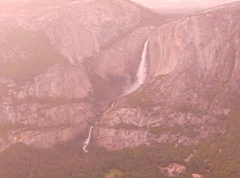 Glacier Point Yosemite Fall Sunset Footage
