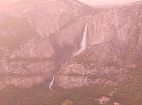 Glacier Point Yosemite Fall Sunset Stock Video Footage