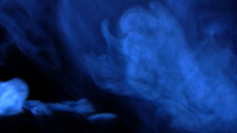 Dark room covered with bluish smoke Stock Video Footage