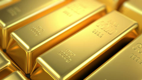 slow flight over gold bars Stock Video Footage
