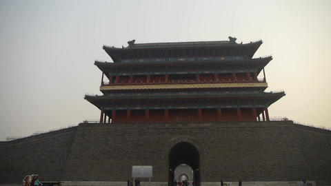 china Beijing ancient city gate tower & arch,Gorgeous palace Footage