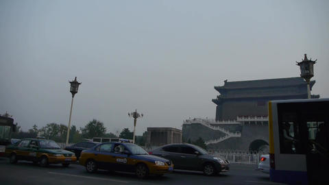 Beijing ancient building & busy traffic in china Stock Video Footage