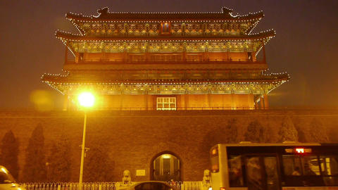 Beijing ancient building night scene & busy traffic Footage
