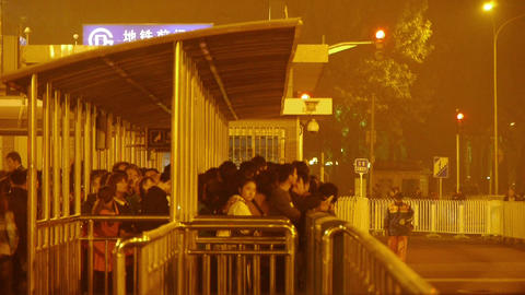 Bus Station & Waiting Crowd In Beijing At Night stock footage