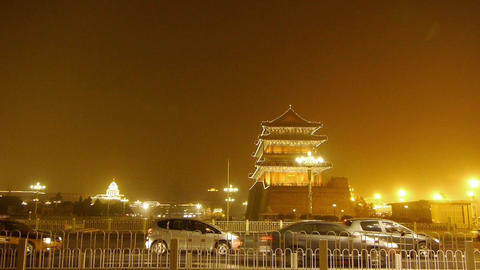 Beijing ancient building night scene & timelapse busy... Stock Video Footage