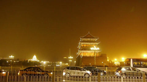 Beijing ancient building night scene & timelapse busy traffic Footage