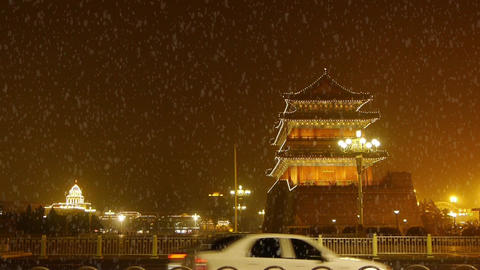 Beijing ancient building night scene & busy... Stock Video Footage